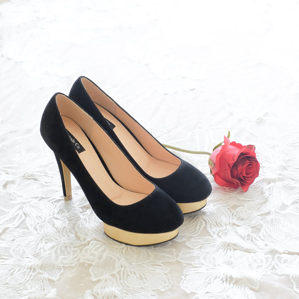 KALLIE SUEDE DOUBLE PLATFORM PUMP HEELS 14CM - BLACK