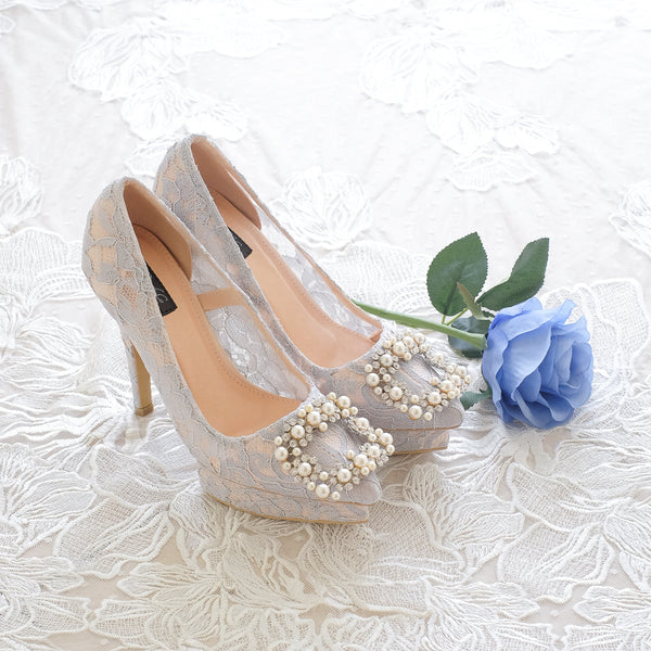 COCO LACE DOUBLE PLATFORM HEELS 12CM WITH PEARL CRYSTAL - GREY