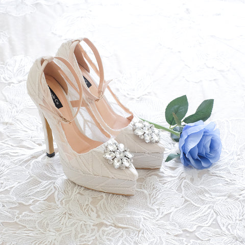 ARROW LACE POINTED DOUBLE PLATFORM HEELS 14CM WITH ANKLE STRAP & SWAROVSKI CRYSTAL - WHITE