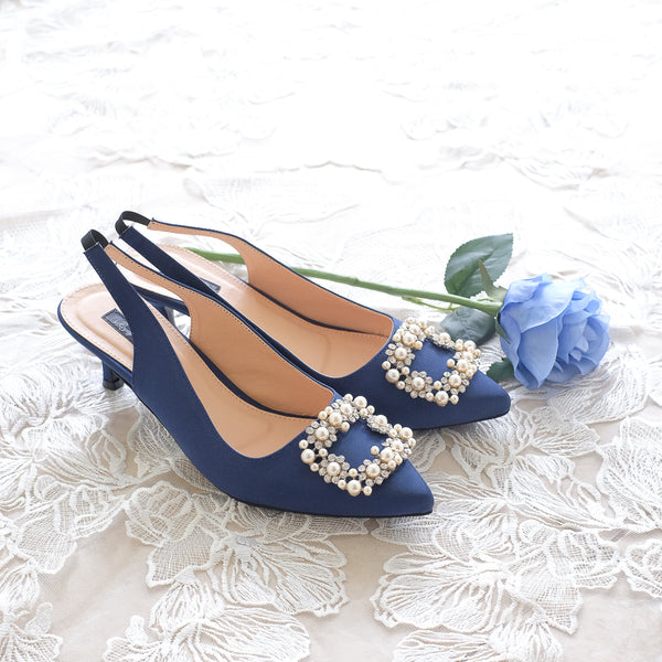 COCO SATIN SLINGBACK HEELS 5CM WITH PEARL CRYSTAL - NAVY