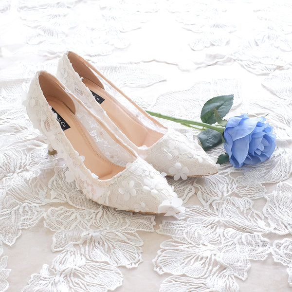 CAMELLIA LACE POINTED HEELS 7CM - WHITE
