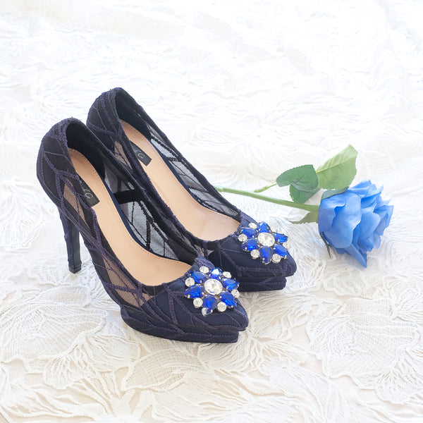 ARROW LACE POINTED DOUBLE PLATFORM HEELS 12CM WITH SWAROVSKI CRYSTAL - NAVY