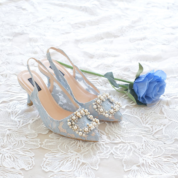 COCO LACE SLINGBACK POINTED HEELS 7CM WITH PEARL CRYSTAL - BABY BLUE