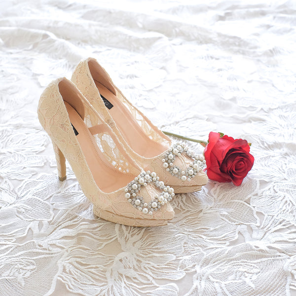 COCO LACE POINTED DOUBLE PLATFORM HEELS 12CM WITH PEARL CRYSTAL - NUDE