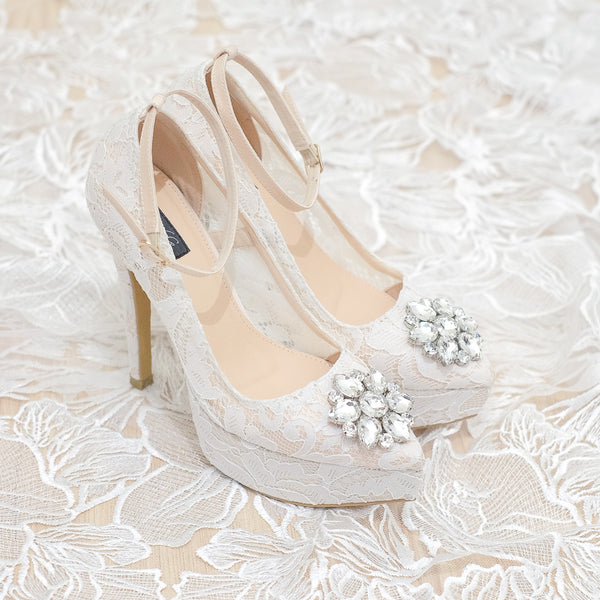 MADEMOISELLE LACE POINTED DOUBLE PLATFORM HEELS 14CM WITH ANKLE STRAP & SWAROVSKI CRYSTAL - WHITE
