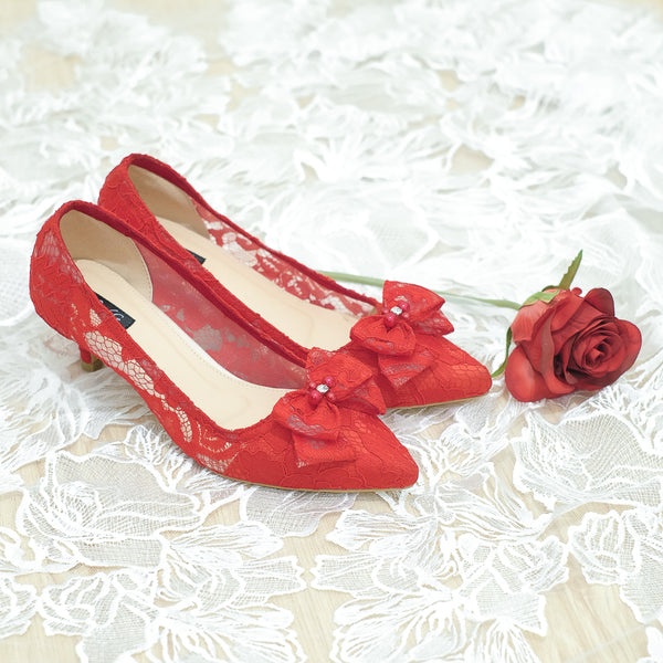 RIBBON LACE POINTED HEELS 5CM WITH RIBBON PEARL CRYSTAL - RED