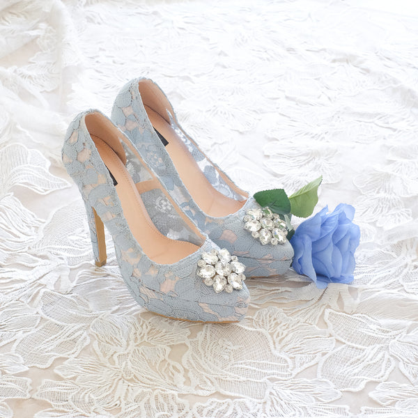MADEMOISELLE LACE POINTED DOUBLE PLATFORM HEELS 14CM WITH SWAROVSKI CRYSTAL - BABY BLUE