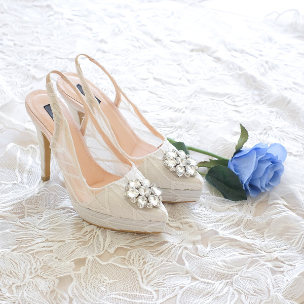 MADEMOISELLE ARROW LACE POINTED DOUBLE PLATFORM SLINGBACK HEELS 12CM WITH SWAROVSKI CRYSTAL - WHITE