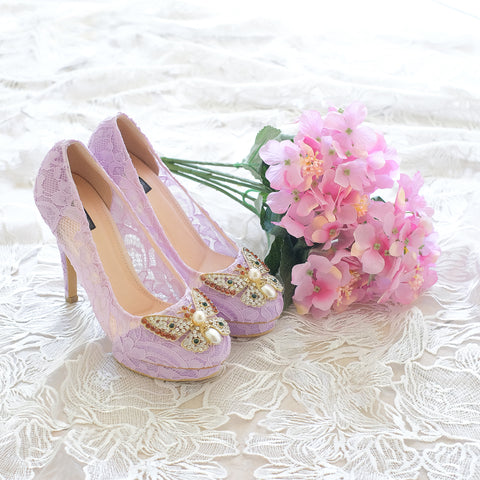 BUTTERFLY LACE DOUBLE PLATFORM HEELS 12CM - PURPLE LILAC