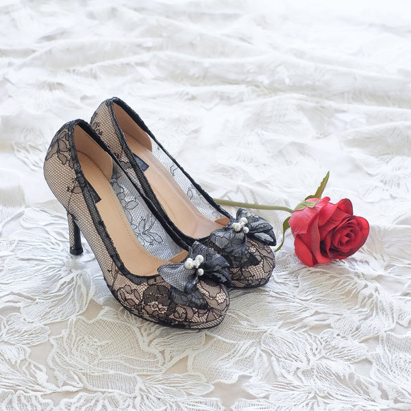 CHANTILLY LACE DOUBLE PLATFORM HEELS 12CM WITH RIBBON PEARL CRYSTAL - BLACK