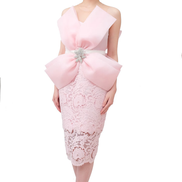 BIG RIBBON DRESS -  BABY PINK