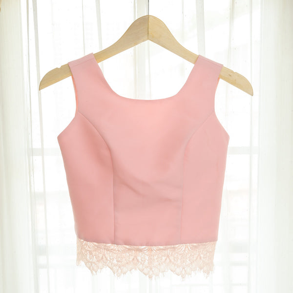 U NECK CROP SLEEVELESS LACE TOP - BABY PINK