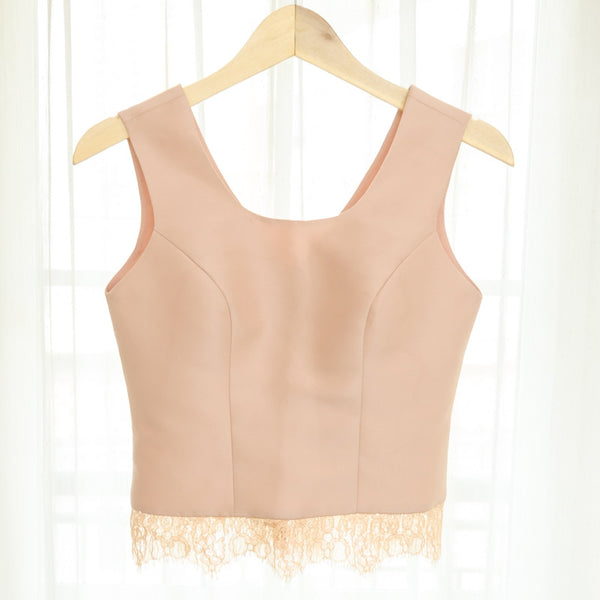 U NECK CROP SLEEVELESS LACE TOP - NUDE