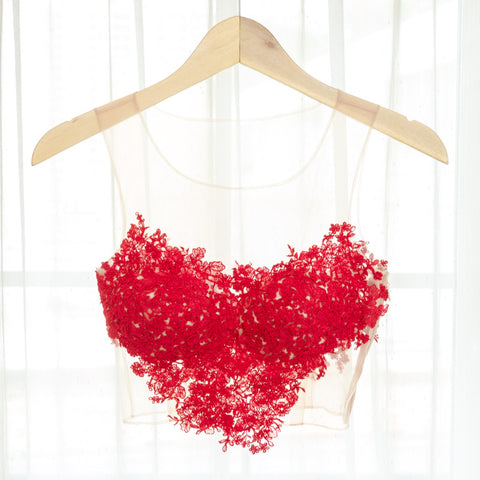 LACEY TOP V HEART SHAPED - RED