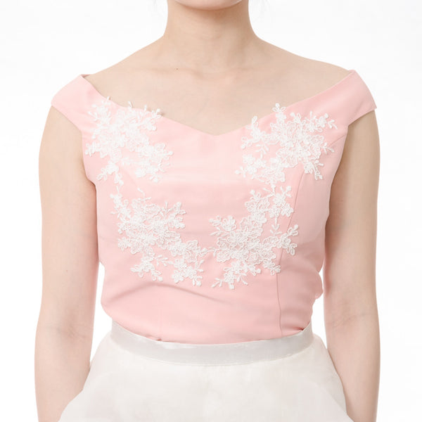 SABRINA TOP WITH LACE - BABY PINK
