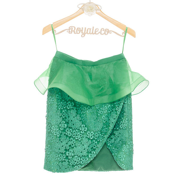 MAGNOLIA SLIT SKIRT WITH PEPLUM - GREEN