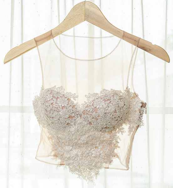 LACEY TOP V HEART SHAPED - WHITE