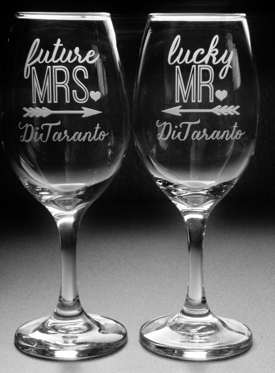 Personalized Future MRS and Lucky MR Engagement Gifts for Couple Bridal Shower Gift Engagement Party Glasses