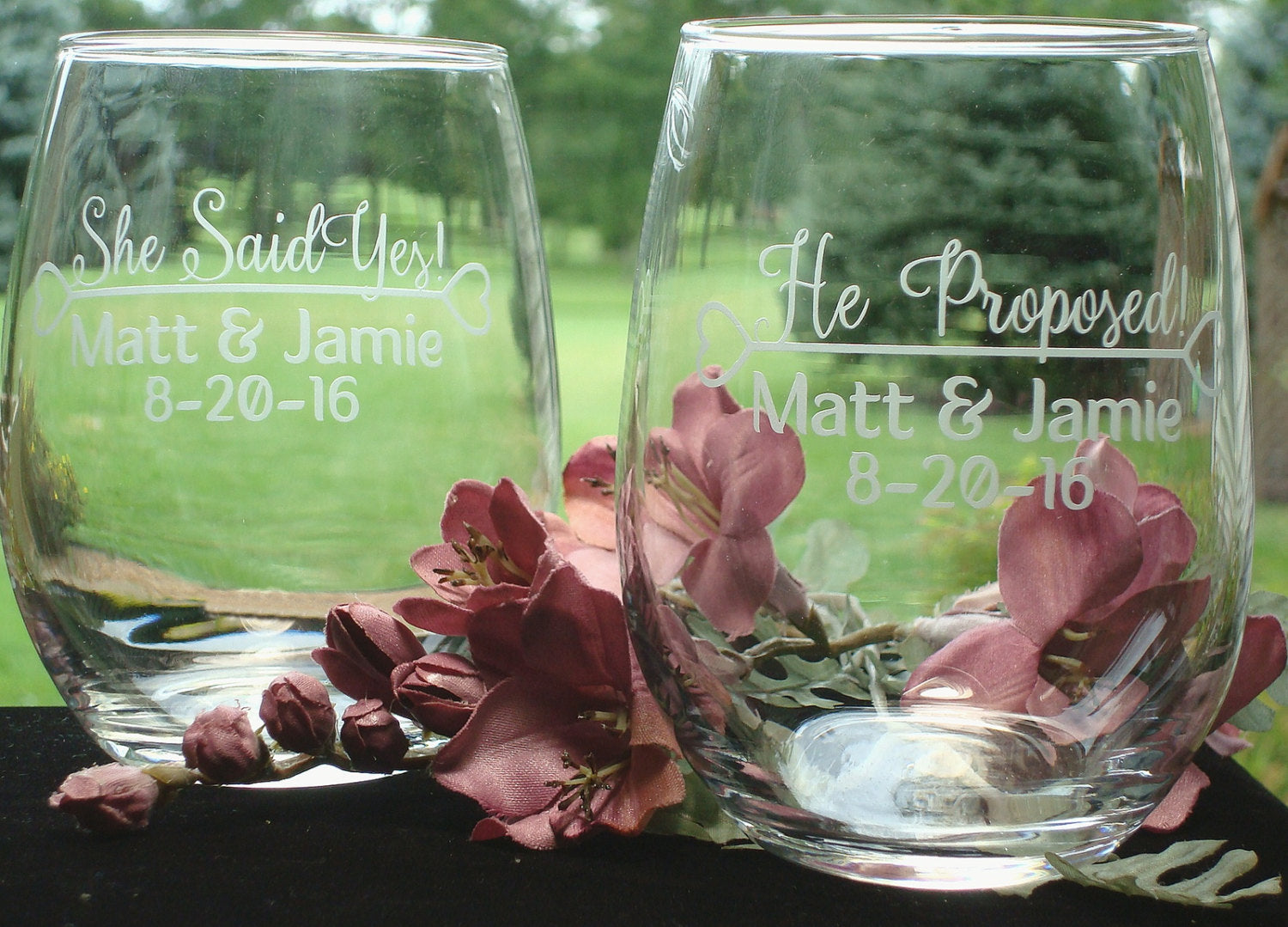 Personalized Engaged Couple Gift Proposal Wine Glasses Engagement Gift stemless wine glasses