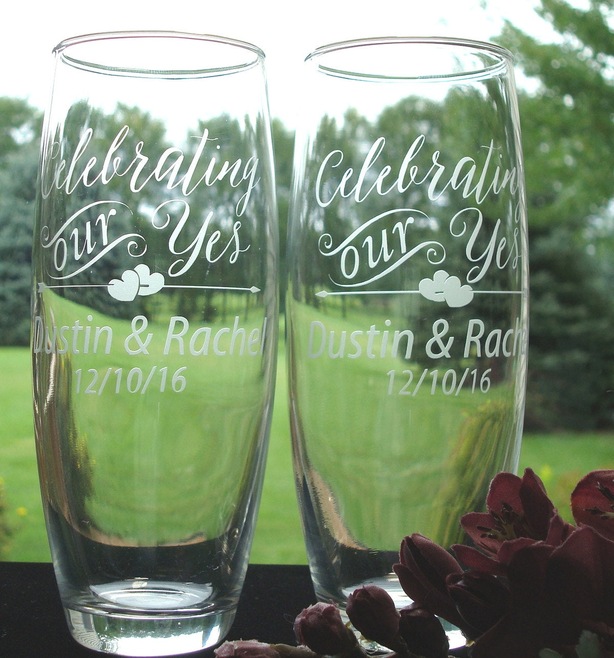 Celebrating our Yes Personalized Stemless Champagne Flutes Wedding Toasting Flutes Bride and Groom Gift Engagement Gift