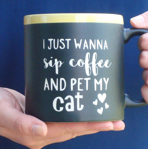 Jumbo Chalkboard Coffee Mug for Cat Lover | Message Coffee Mug | Birthday Gift | Love my Cat Gift | Cat Lover Coffee Cup | Cat Owner Gift