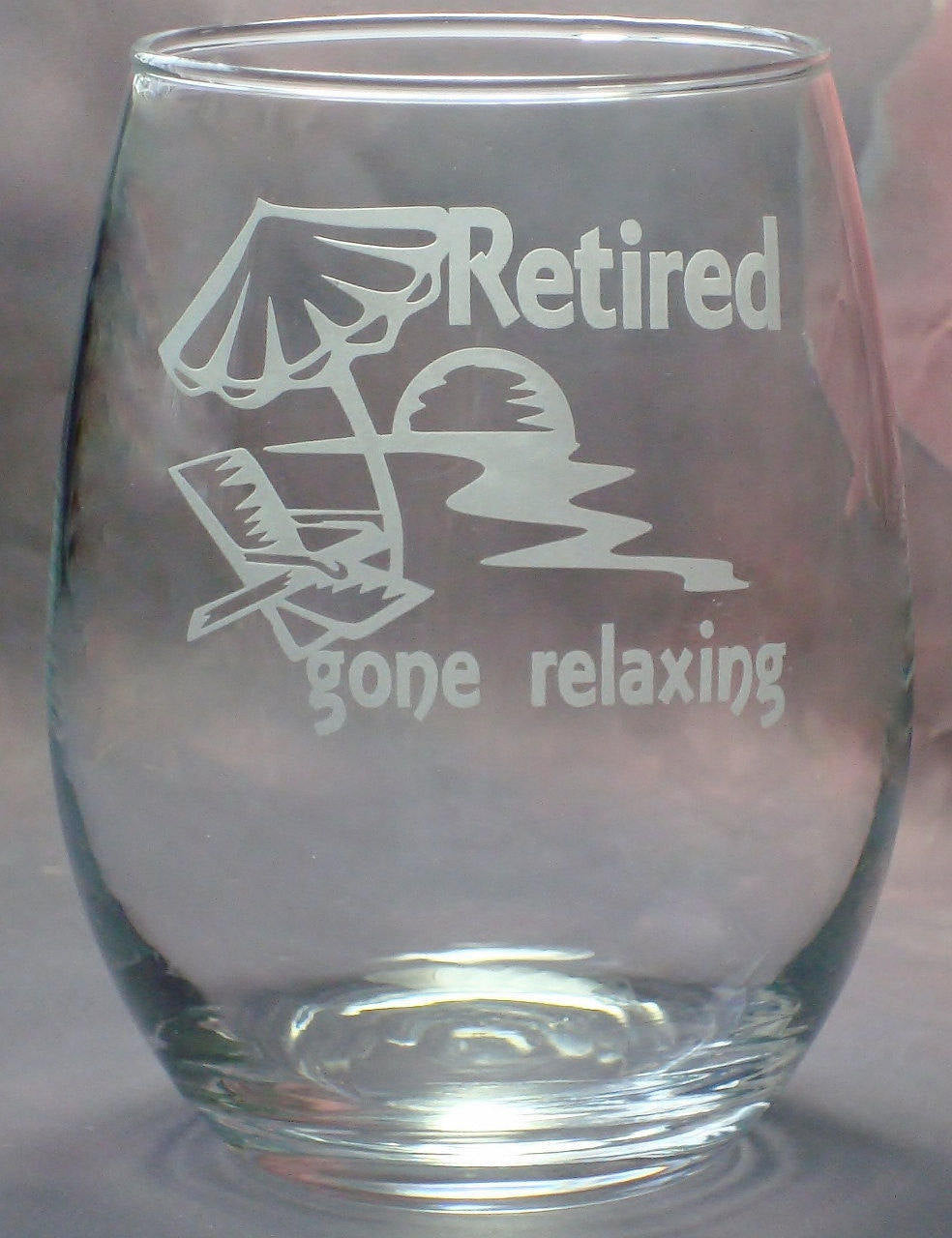 Retirement Gifts for Retirement Co Worker Gift | Beach Gone Relaxing Design | Stem Less Wine Glass | Retirement Party Gift