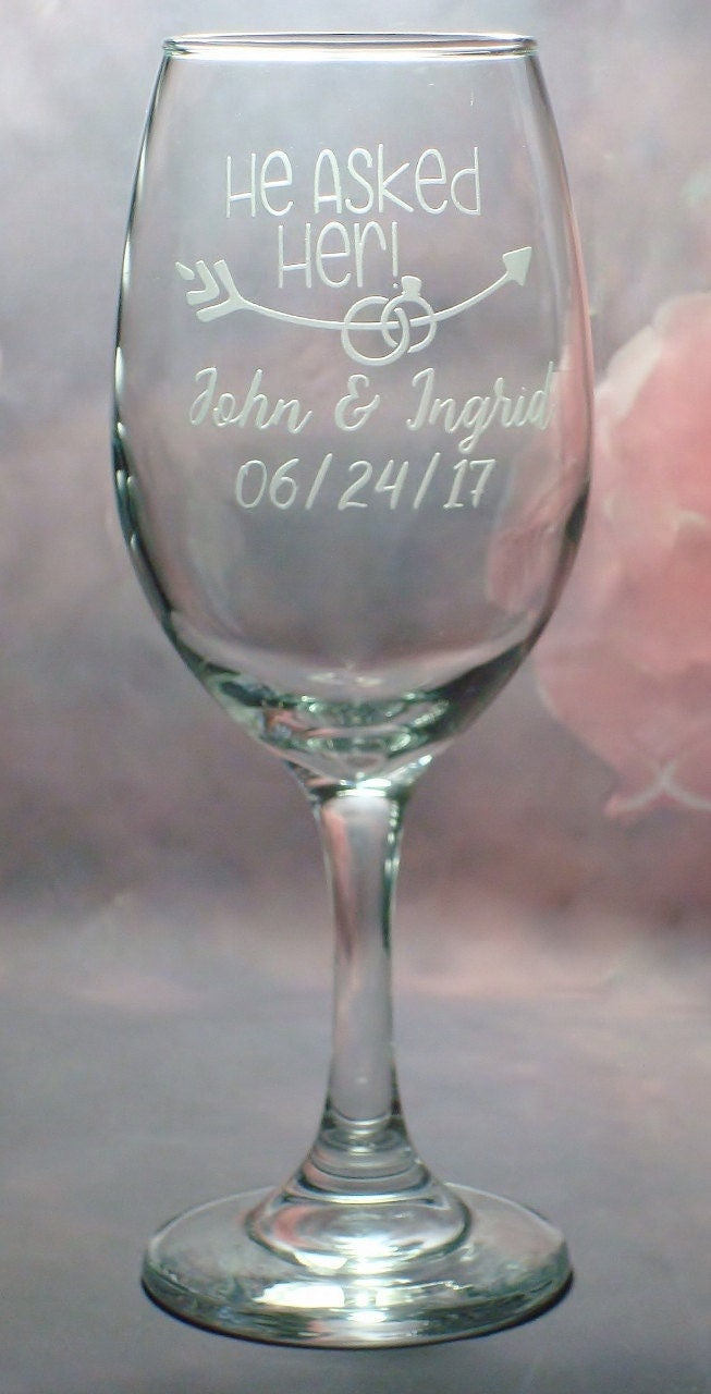 Personalized Engagement Wedding Wine Glass Set He Asked Her She Said Yes Engaged Couple Gift Set Engagement Party Gift