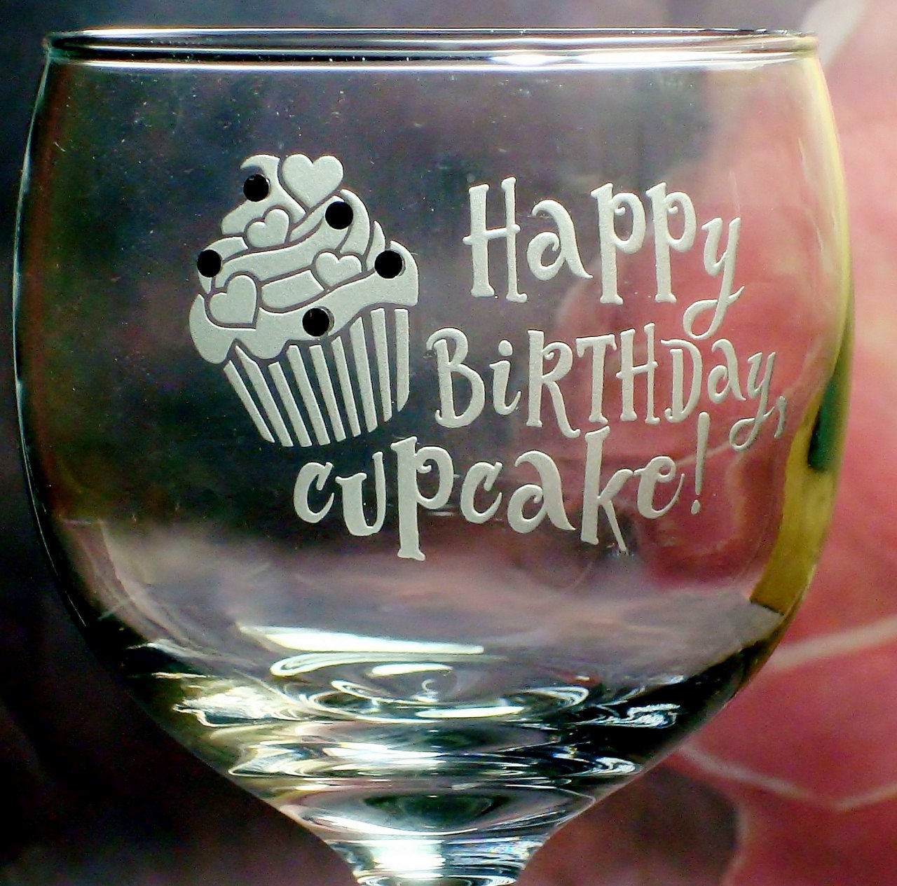 Personalized Happy Birthday Cupcake Wine Glass with Swarovski Sprinkles Girlfriend Birthday Gift for Her