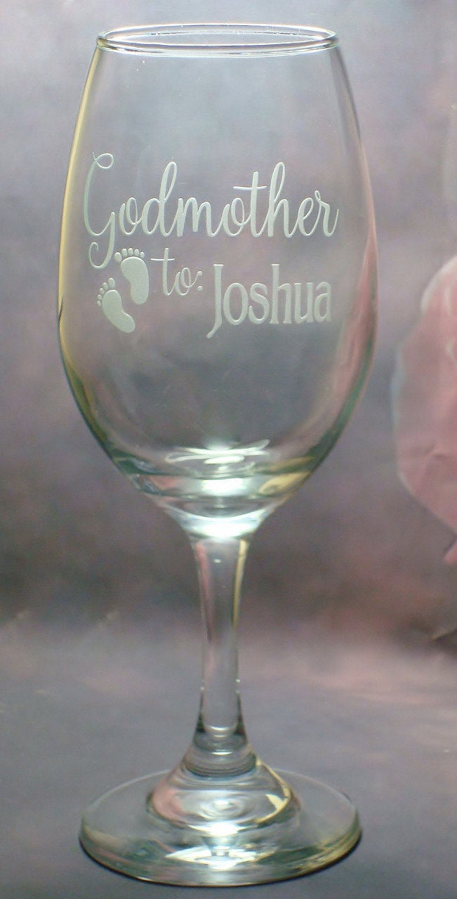 Personalized Godparent Godfather Godmother baby footprint Wine Glass Set Baptism Gift