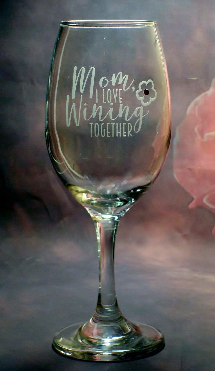 Happy Birthday Mother's Day Wine Glass Mom Mother Gift