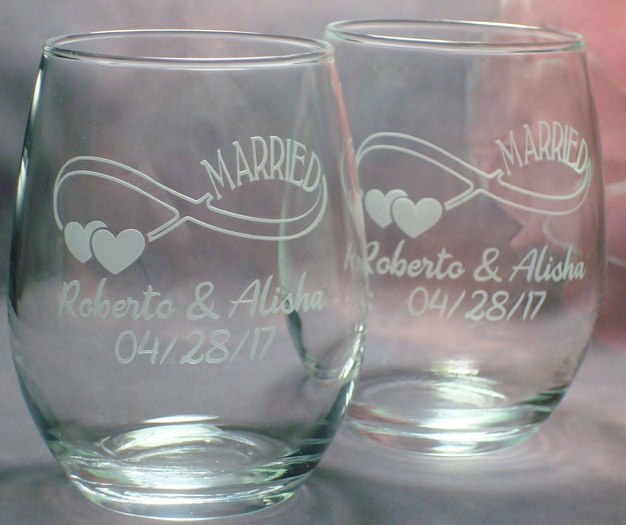 Personalized Bridal Shower Gift Wedding Couple Gift Set of Infinity Symbol Married 15 oz stem less wine glasses