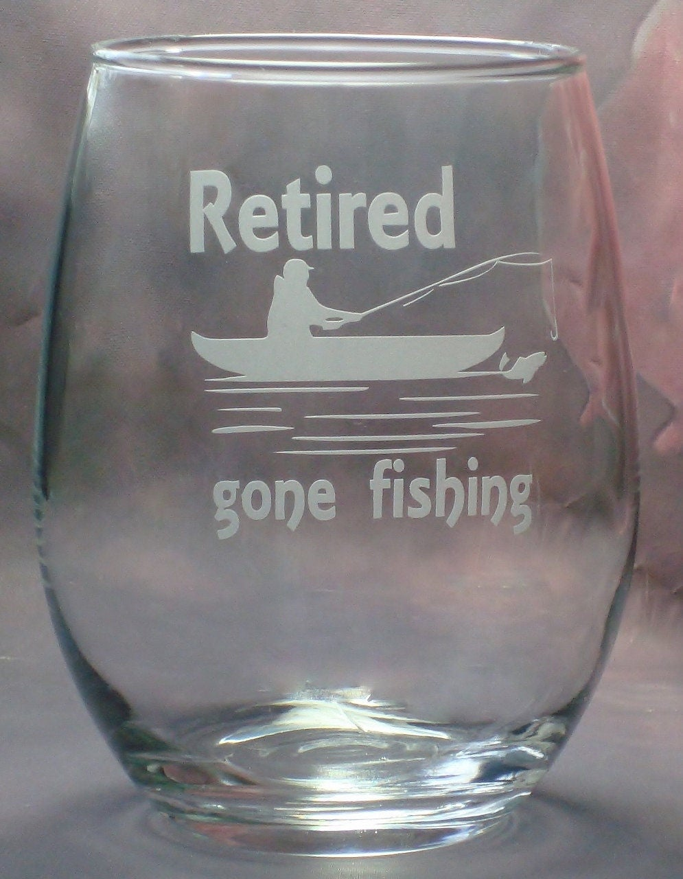Retirement Gifts | Retired Gifts for Retirement Co Worker Gift Boat Gone Fishing | 21 oz. Stem Less Wine Glass | Fishing Retirement Gift