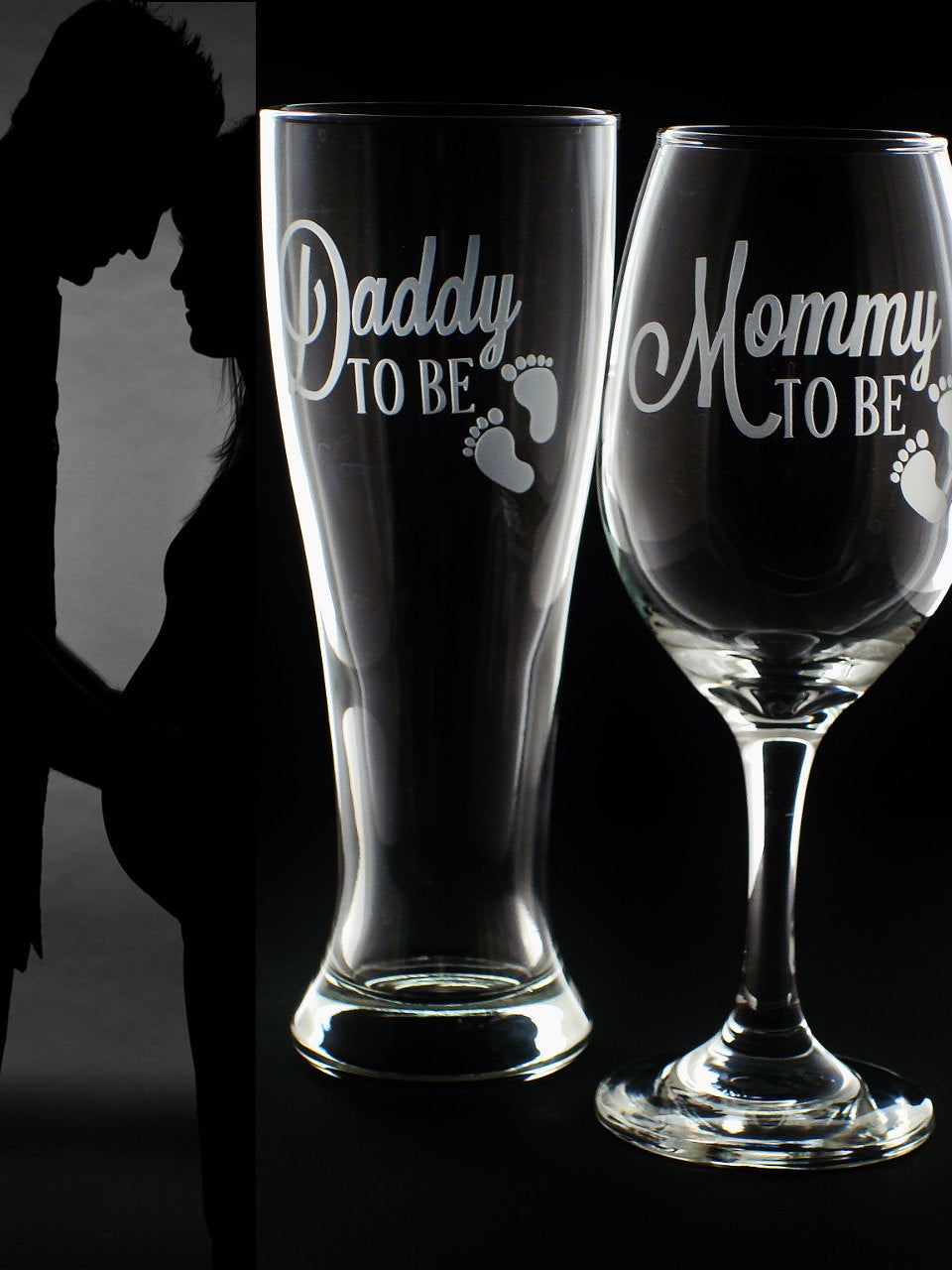 Baby Shower Gift Mommy and Daddy To Be Glass Set New Parent Gift
