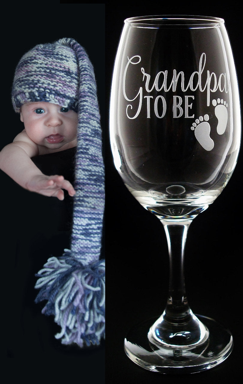 New Grandpa Gift Grandpa To Be Wine Glass Gift | Grandfather Reveal Gift