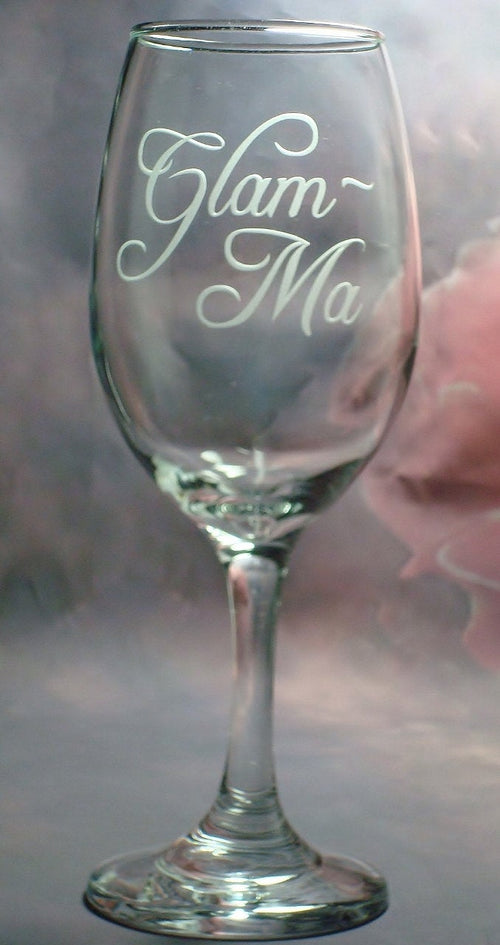 Glam Ma Glamma New Grandparents Reveal Wine Glass Grandmother Grandma Gift for Her