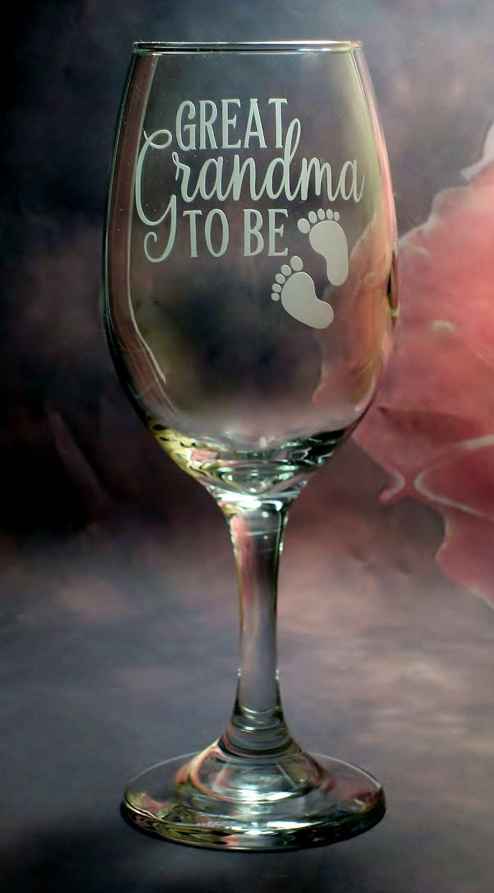 Great Grandma To Be Pregnancy Reveal Gift New Great Grandmother Baby Footprint Wine Glass