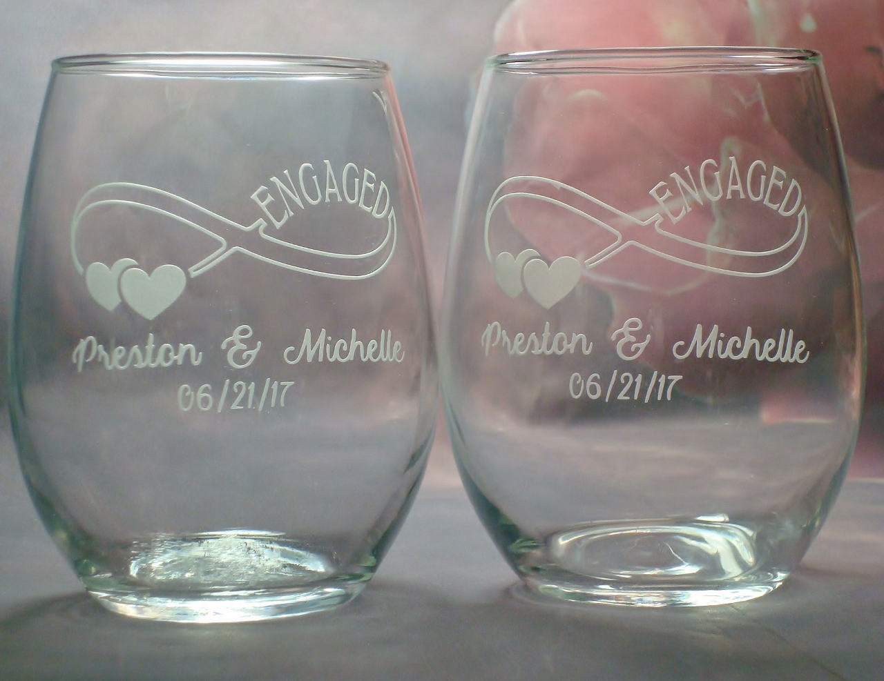 Personalized Engagement Gifts for Couple Personalized Set of Wine Glasses Infinity Couple Engagement Gift