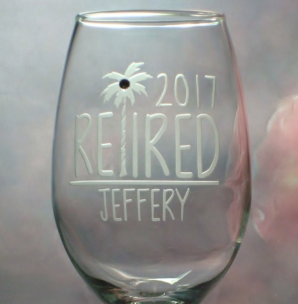Personalized Tropical Theme Retirement Wine Glass Gift Co Worker Retired Gift