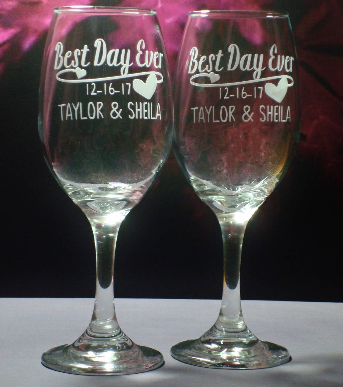 Personalized Wedding or Engagement Gift Best Day Ever 13 oz Wine Glasses | Engagement Gift | Wedding Couple Gift | Bridal Shower Glass Set