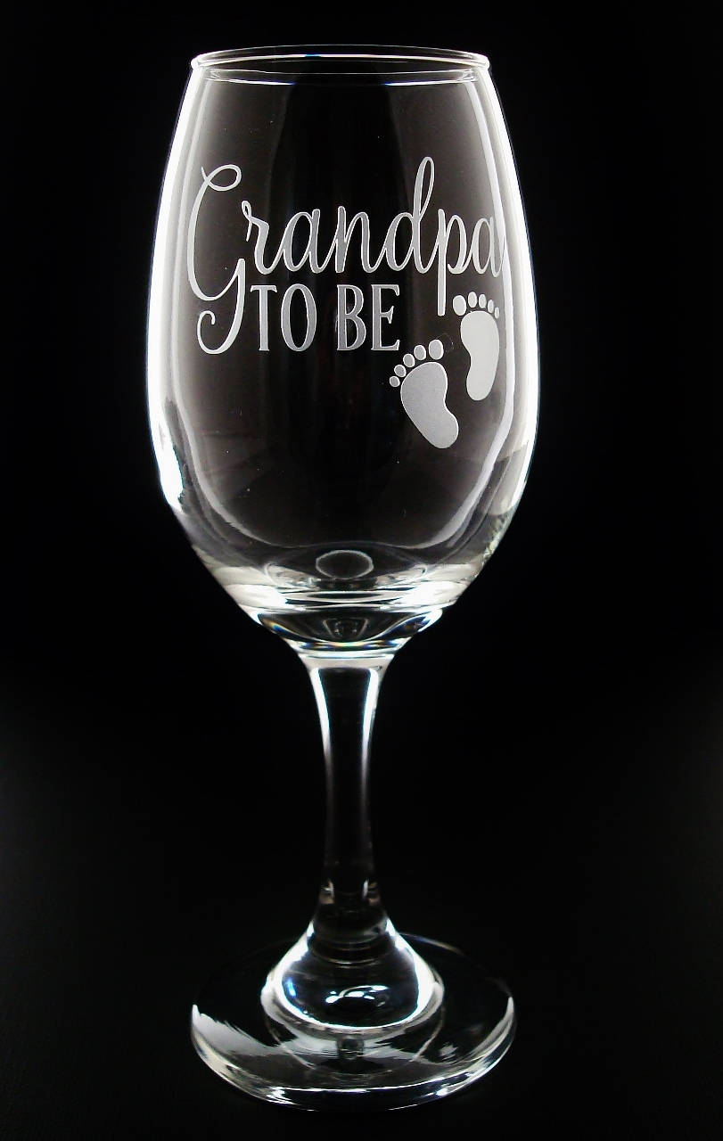 Grandparent Gifts Grandma Grandpa To Be Pregnancy Reveal Baby Footprint Wine Glass Set