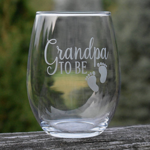 Grandpa To Be Pregnancy Reveal Stem Less Wine Glass Grandfather Gift
