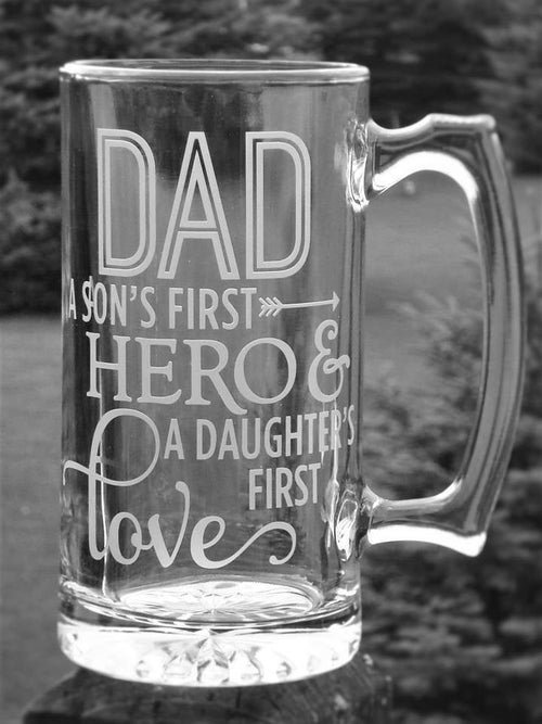 Dad Hero Large Beer Stein Gift Christmas Gift Birthday Son and Daughter Gift for Father's Day