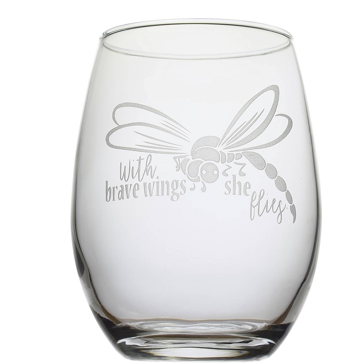 With Brave Wings She Flies Dragonfly Stemless Wine Glass Cancer Inspirational Gift for Her