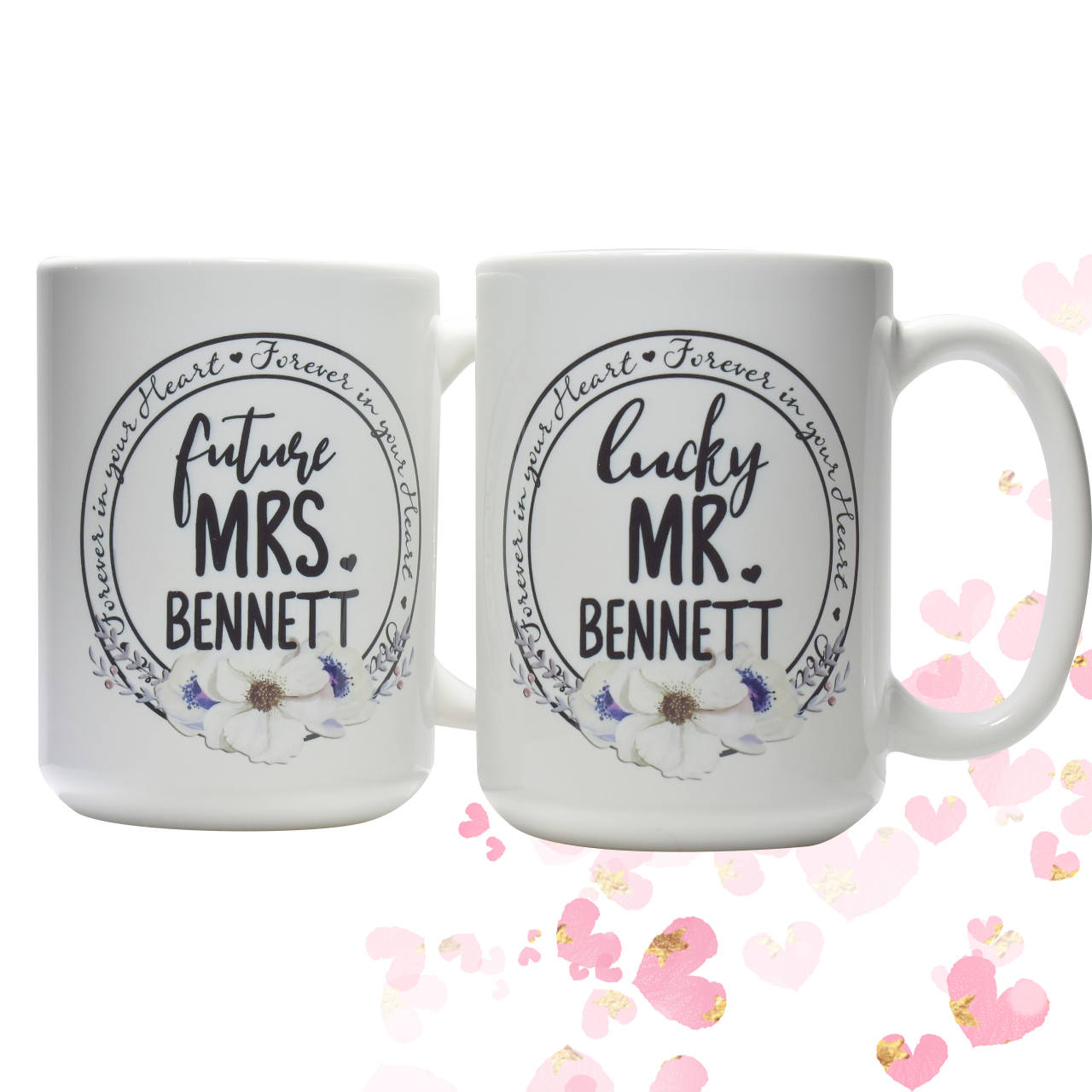 Personalized Engagement Gift Future Mrs Lucky Mr coffee mug set Bridal Shower