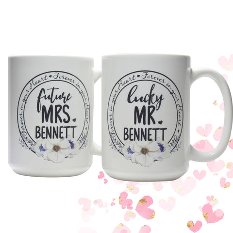 Couple Engagement Gift/Future Mrs Lucky Mr mug set/coffee mug set/engagement coffee cups/Engagement Gift Best Friend/engagement party