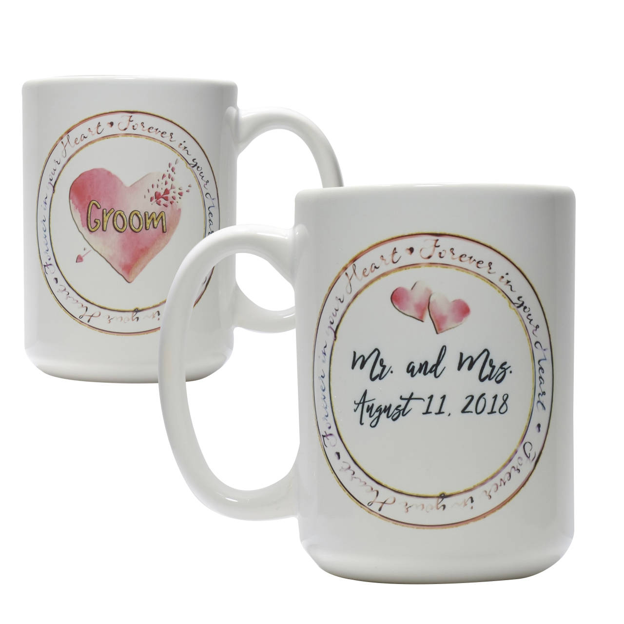 Personalized Bride Groom mug set bridal shower coffee mug gift set wedding coffee cups