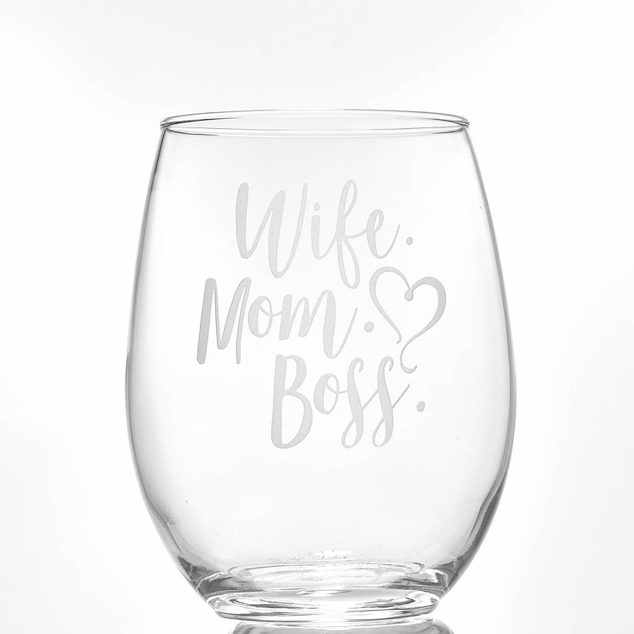 Wife Mom Boss Stemless Wine Glass | Mothers Day Gift | Funny Mom Gift | Mom Wine Glass | Wife Gift | Mother Mom Birthday Gift