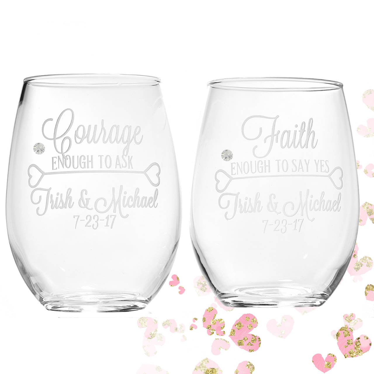 Unique Wedding Couple Gift | Courage Faith Wedding Gift | Wedding Stemless Glasses | Personalized Wedding Gift | Custom Gift Bride Groom