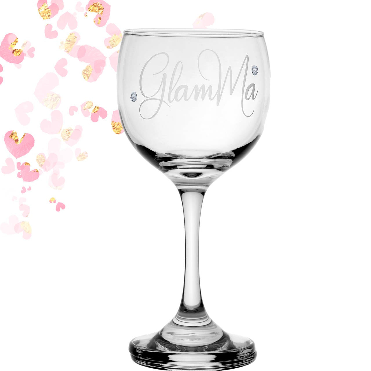GlamMa Glamma Grandmother Grandma 10 oz Wine Glass with Crystals Gift for Her