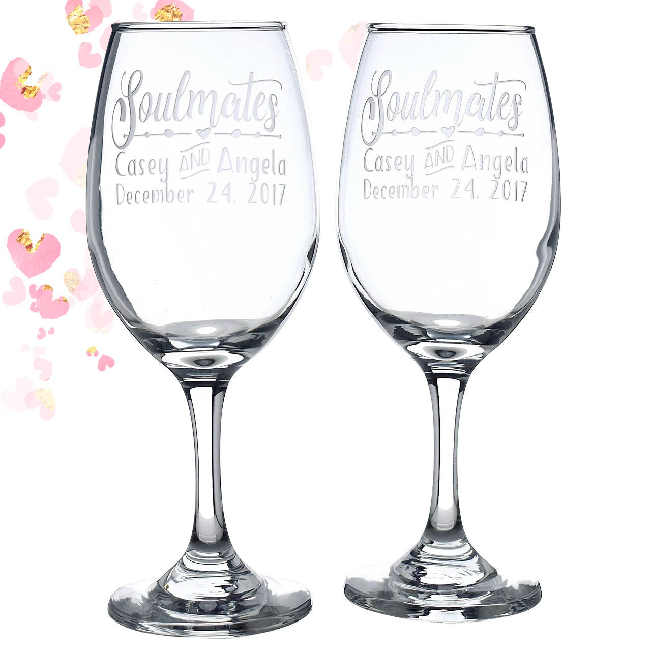 Soulmates Wine Glass Gift Personalized Glasses | True Soulmates| Etched Soulmates Wedding Glasses | Valentines Gift | Unique Wedding Gift